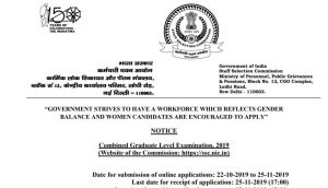 SSC CGL 2019 Official Notification And Apply Online