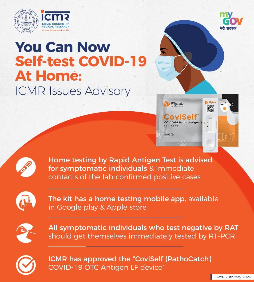 ICMR Advisory For Covid19 Self -Test At Home